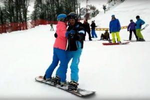 Обучение вдвоем на одном сноуборде